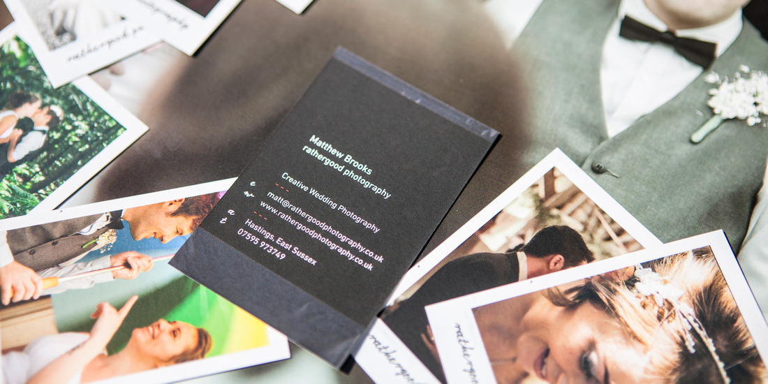 matthew brooks, wedding photography, east sussex, business cards, polaroid, album, photobook