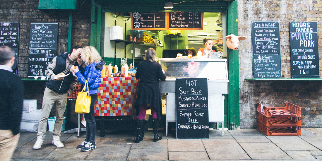 couple kissing borough market food photography